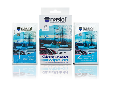 Three Nasiol nano products for care about car interior in the packages